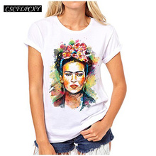 Women Frida Kahlo Print T shirt Funny Personalized Short Sleeve Round Neck Top Tees(China)