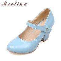 Meotina מסיבת Janes מרי עקבים גבוהים נשים נעלי משאבות 2018 אביב גבירותיי נעלי אצבע עגולות העקב עבים נעלי כחול לבן ורוד