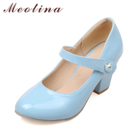 Meotina High Heels Women Mary Janes Party Shoes Pumps 2018 Spring White Shoes Thick High Heel Round Toe Shoes Ladies Blue Pink