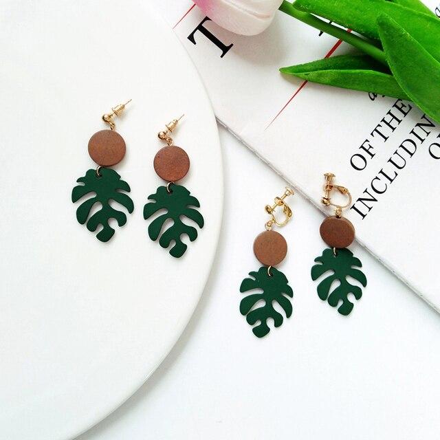Retro wood leaves earrings 4