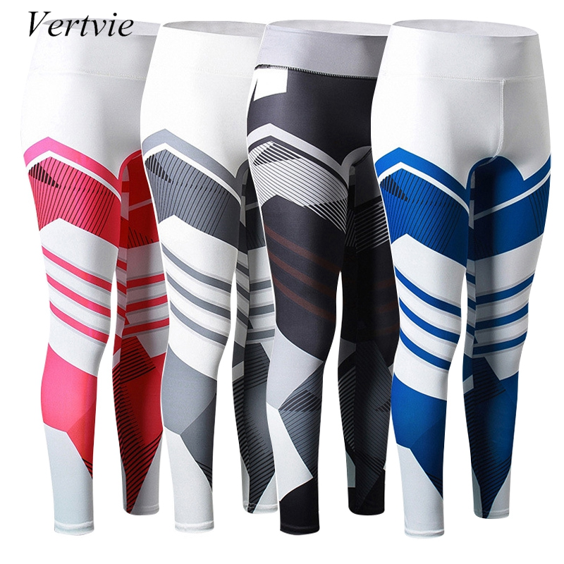 vertvie Geometric Patchwork Fitness Trousers Running Legging Gym High Waisted Women Leisure Sweat Pants Elastic Jogger Exercise