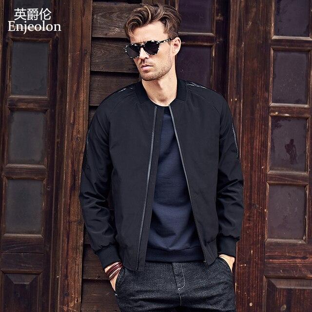 Enjeolon бренд ветронепроницаемый бомбер куртки мужские черные однотонные куртки Мужская s куртка с воротником-стойкой куртка пальто для мужчин JK0327