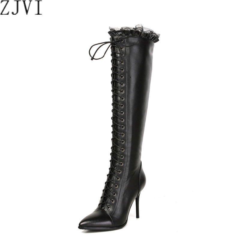 ФОТО ZJVI womens Genuine Leather knee high boots women pointed toe Motorcycle thigh high boots European woman thin high Heels shoes