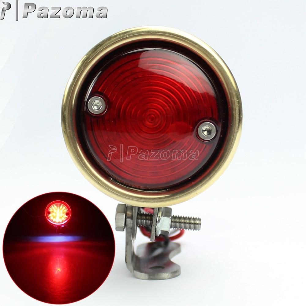 For Motorcycle Streetfighter Brat Style Bullet Brass 12V LED Tail Brake Stop Light Lamp for Harley