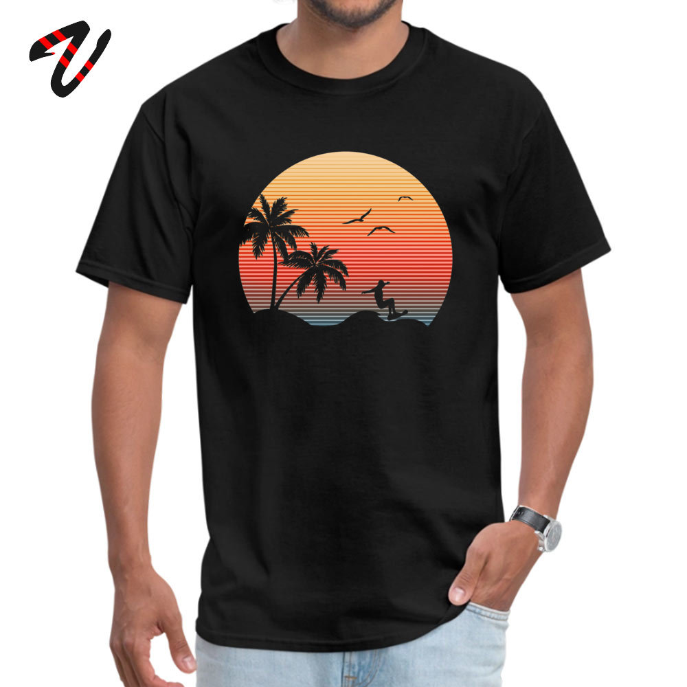 Summer Men T-shirt Sunset Graphic Icon Surfer Ocean Palm T Shirt Initial D Man T-Shirts Personalized Tops TShirt