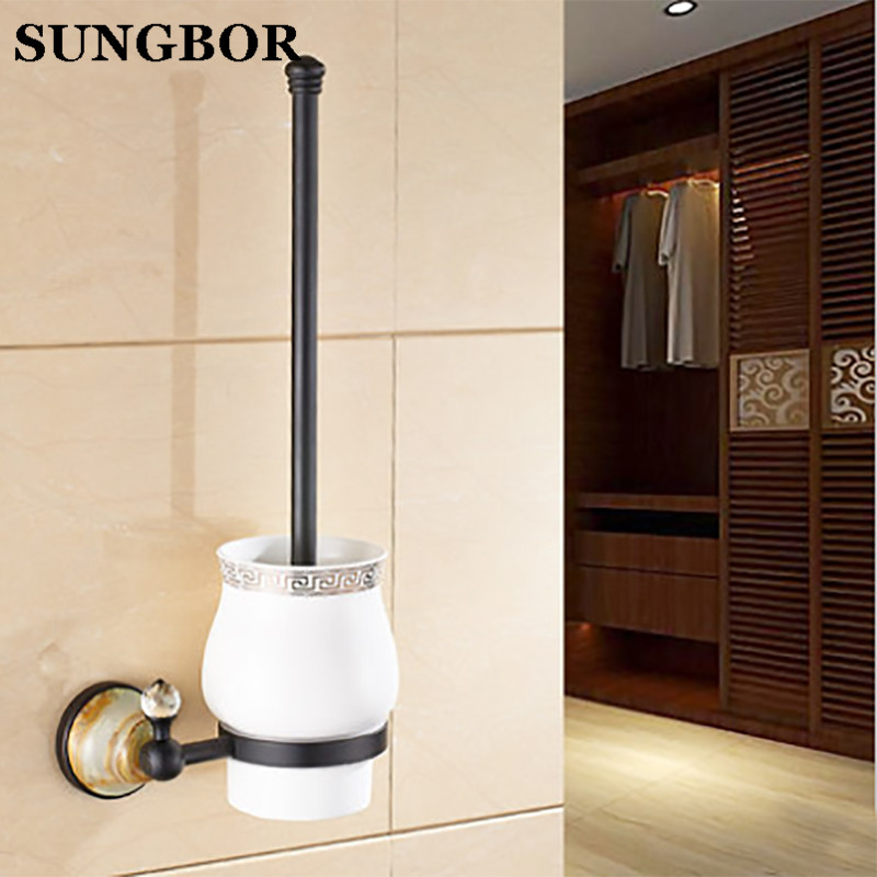 Black Toilet Brush Holder Copper Brass Luxury Jade Wall Mounted Bathroom Accessories Brush Holder with Ceramic Cup HY-95809H simple bathroom ceramic wash four piece suit cosmetics supply brush cup set gift lo861050