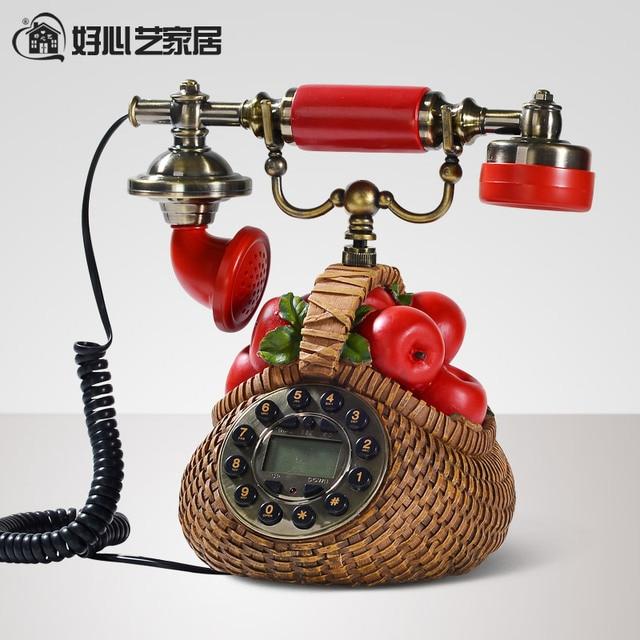 Hoshine Novelty Red Apples Antique Vintage Telephone for Sale Resin Corded  Retro Landline Phones Desk Telefone - Hoshine Novelty Red Apples Antique Vintage Telephone For Sale Resin