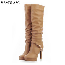 VAMOLASC New Women Autumn Winter Leather Knee High Boots Sexy Warm Square High Heel Boots Platform Women Shoes Plus Size 34-40