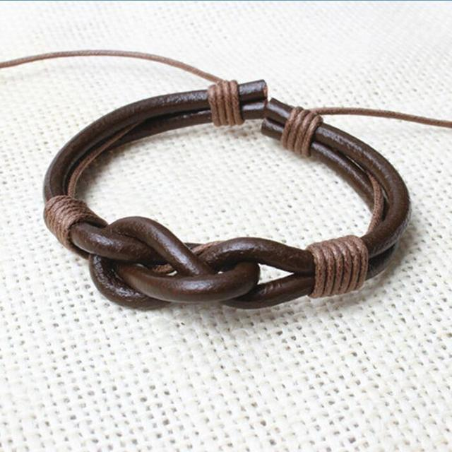 BlackBrown Leather Rope Surf Bracelet Men Knot Wrist Cuff Bracelet