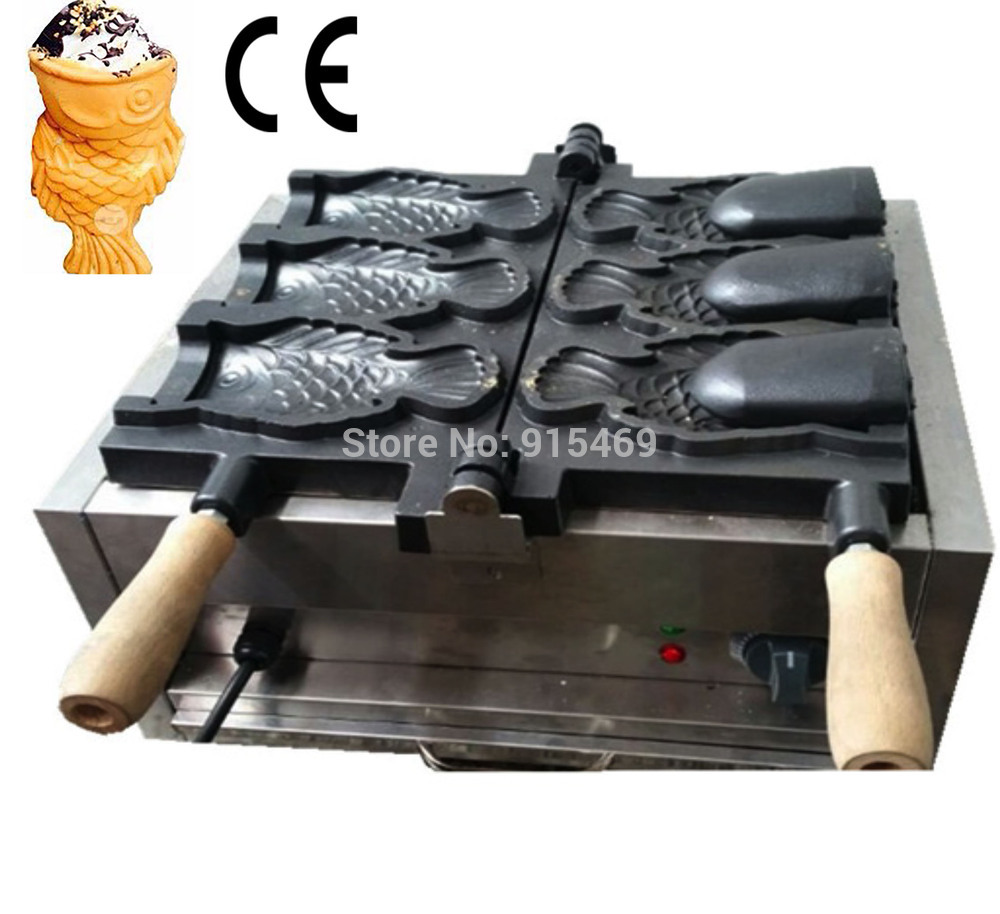 Free Shipping Commercial Use 110v 220v Electric 3pcs Ice Cream Deep Mouth Taiyaki Fish Waffle Maker Machine Baker edtid new high quality small commercial ice machine household ice machine tea milk shop