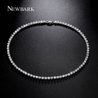 NEWBARK Luxury 81 Pcs Round 0 25CT Cubic Zirconia Diamond Necklace For Women 18K White Gold