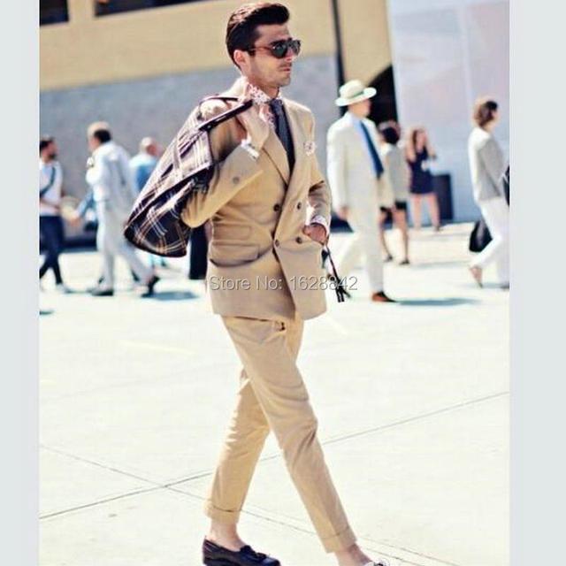 Champán romántico Traje de Los Hombres de Moda de Doble Botonadura 2 Piezas Chaqueta + Pantalones Bolsillos de Solapa Trajes de Boda Para Los Hombres Por Encargo Ternos