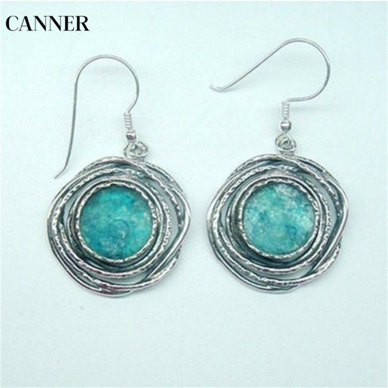 Canner New Turquoises Stone Pendant Drop Earrings For Women Retro Antique Silver Fashion Jewelry in Drop Earrings from Jewelry Accessories