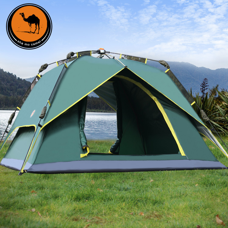 New arrival double layer 3-4 person automatic large space beach tourist camping tent beach sun shelter new arrival fully automatic two hall 6 8 person double layer camping tent against big rain large family outdoor tent 190cm high