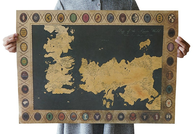 Game Of Thrones World Map Vintage Kraft Paper Classic Movie Poster  School Office Cafe Bar Decoration Retro Posters And Prints