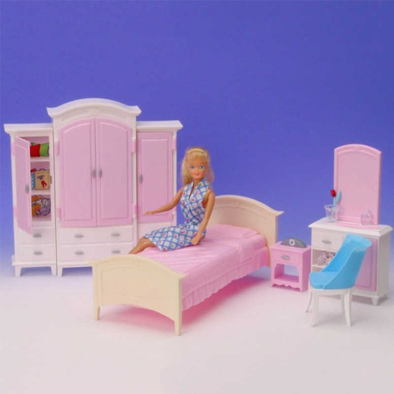 1/6 Miniature Furniture Bedroom & Wardrobe Play Set for Barbie Doll House Pretend Play Toys for Girl Free Shipping