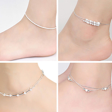 Hot Women Silver Plated Chain Anklet Bracelet Barefoot Sandal Beach Foot Jewelry 6Y3D 7EL1 BDW8