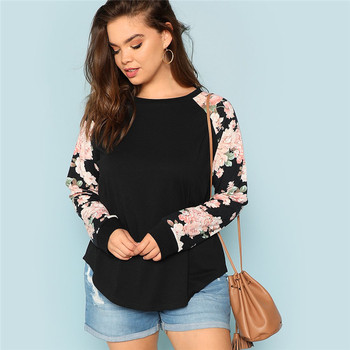 Floral Print Raglan Sleeve Casual Plus Size Black Womens Top
