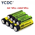 YCDC Original 4 Pcs/box 1.2V 2000mAh NI-MH AA Rechargeable Battery + 4Pcs nimh 1000mAh AAA Batteries with Cells Hold Case Box