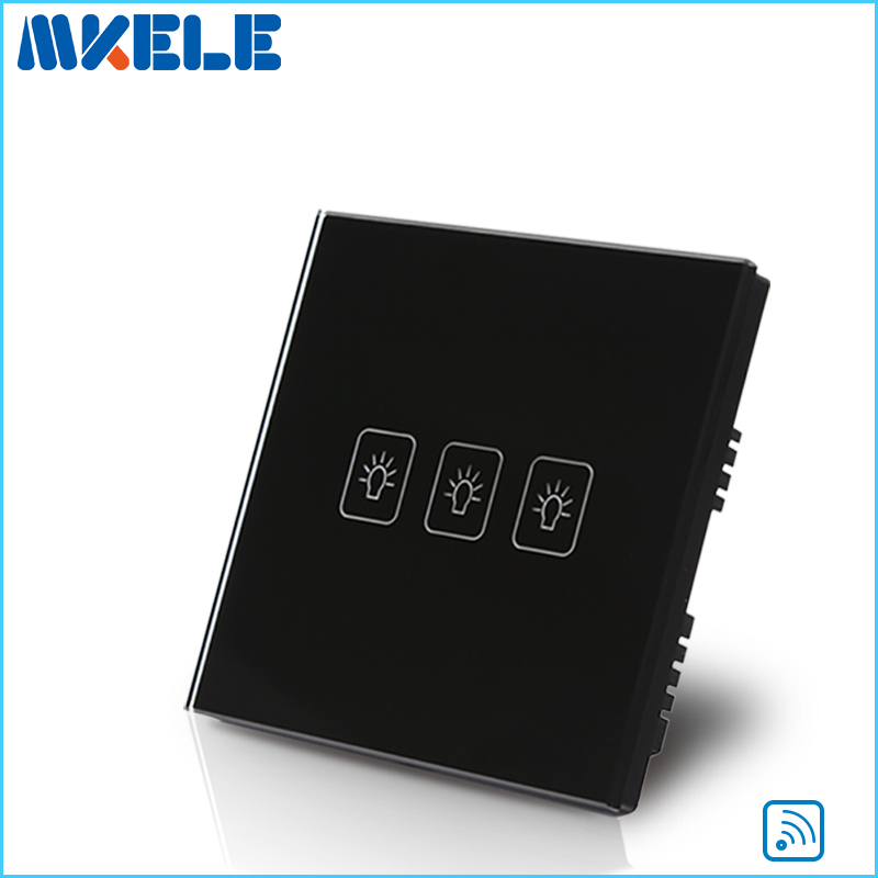 Remote Control Wall Switch UK Standard Remote Touch Switch Black Crystal Glass Panel 3 Gang 1 way  with LED Indicator 2017 free shipping smart wall switch crystal glass panel switch us 2 gang remote control touch switch wall light switch for led