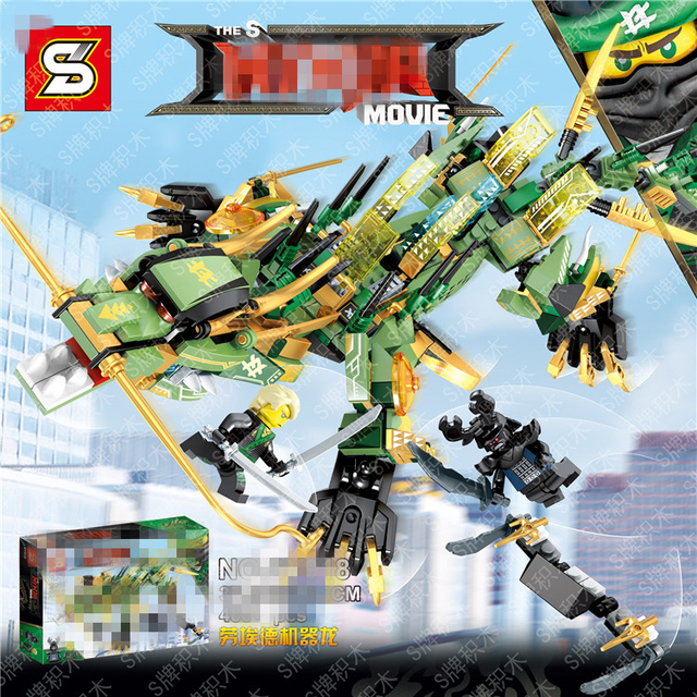480pcs ninjago set green ninja mech dragon lloyd garmadon s compatible with lego 2017 movie blocks