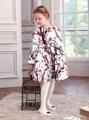 2017 Новых Девушек plum blossom Девять очков рукав Платья осень зима принцесса жаккардовые платья оптом 3-12 лет