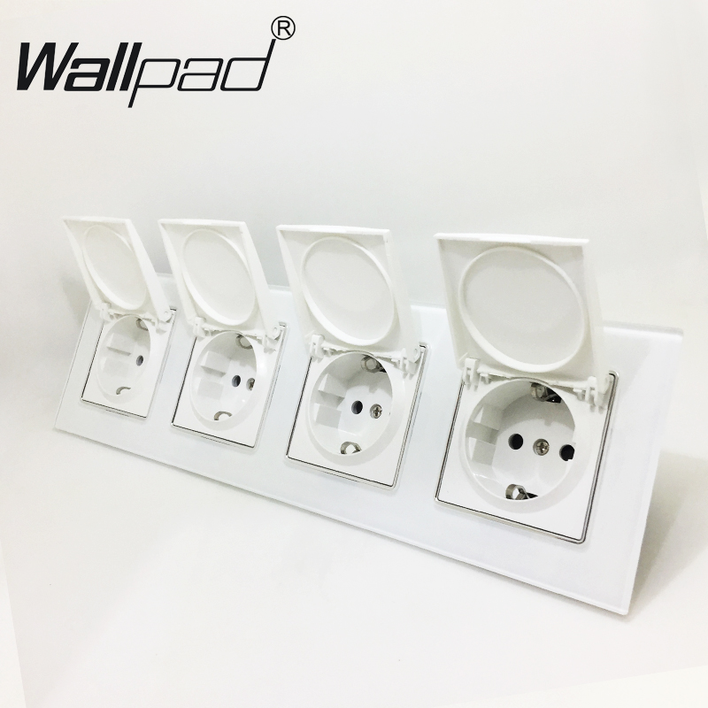4 Way EU Socket with Cap Round Box Mount CE Wallpad Luxury White Crystal Glass Quadruple Frame 16A EU Schuko Outlet with Claws4 Way EU Socket with Cap Round Box Mount CE Wallpad Luxury White Crystal Glass Quadruple Frame 16A EU Schuko Outlet with Claws