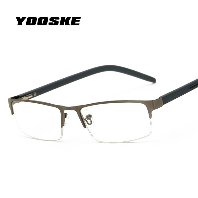 YOOSKE Metal Half Frame Reading Glasses Men Women Business Hyperopia Eyeglasses With Prescription +1.5 +2.5 +3.0 +3.5