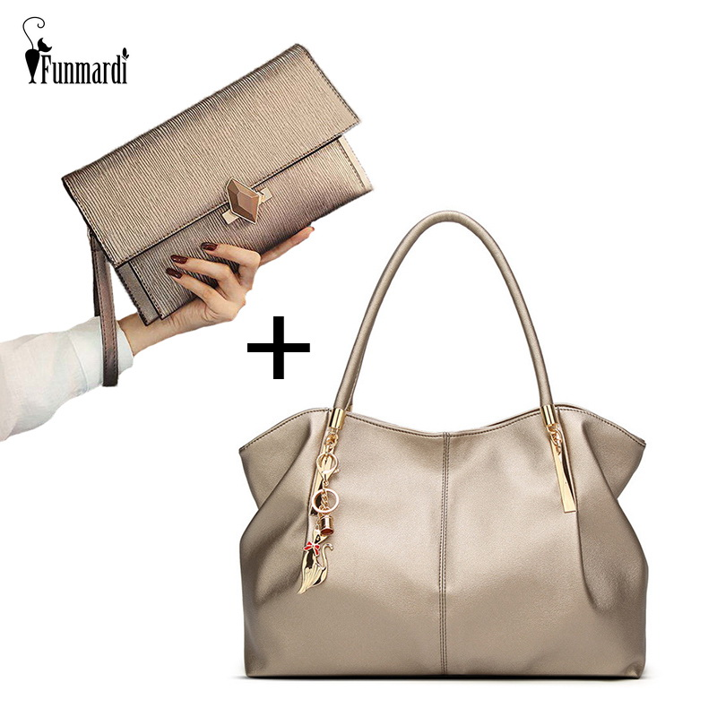FUNMARDI Luxury Handbags Women Bag Sets Designer PU Leather Large Shoulder Bag Brand Clutch Female Elegant