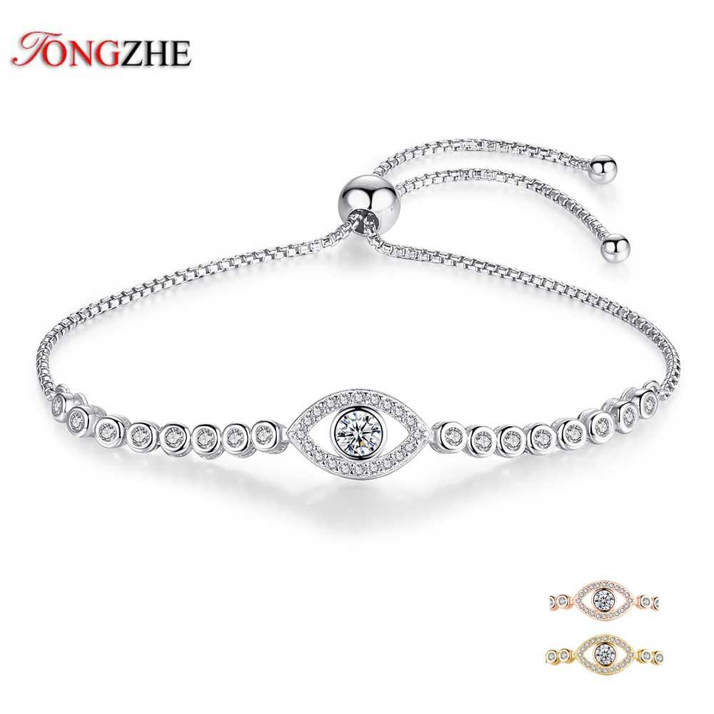 9a2cbac97b8 Tongzhe Luxury Brand 925 Sterling Silver Tennis Bracelets Gifts for Women  Blue Evil Eye Custom Bracelet
