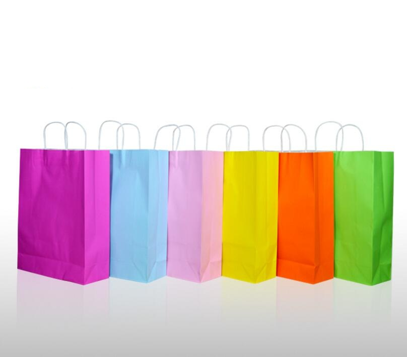 14 colors large christmas gift bag paper with handle shopping kraft bag with logo custom bags freeshipping 20pcs in gift bags wrapping supplies from