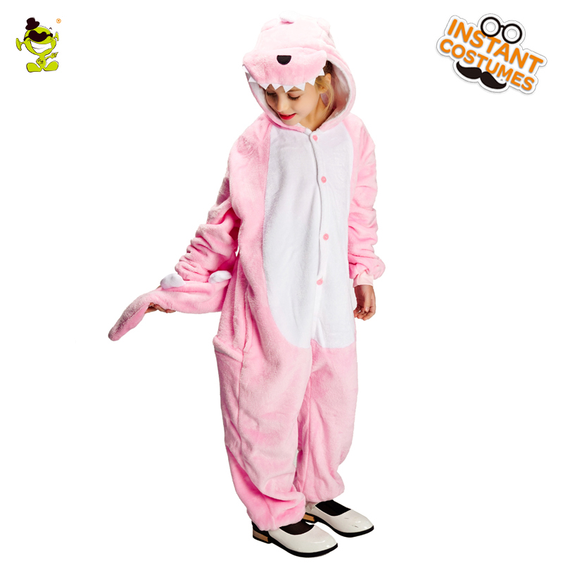 New Children Girl's Dinosaur Pajamas Costumes Role Play Pink Animal Dinosaur Clothes for Christmas Flannel Pajamas