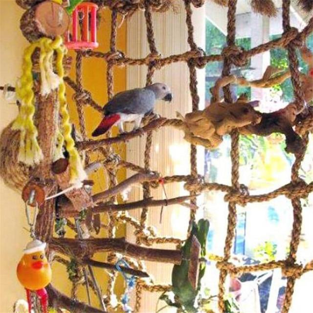 40*40cm Parrot Climbing Net Bird Toy Swing Rope Net Bird Stand Net Hammock With Hook Bird Hanging Climbing Chewing Biting Toys 2