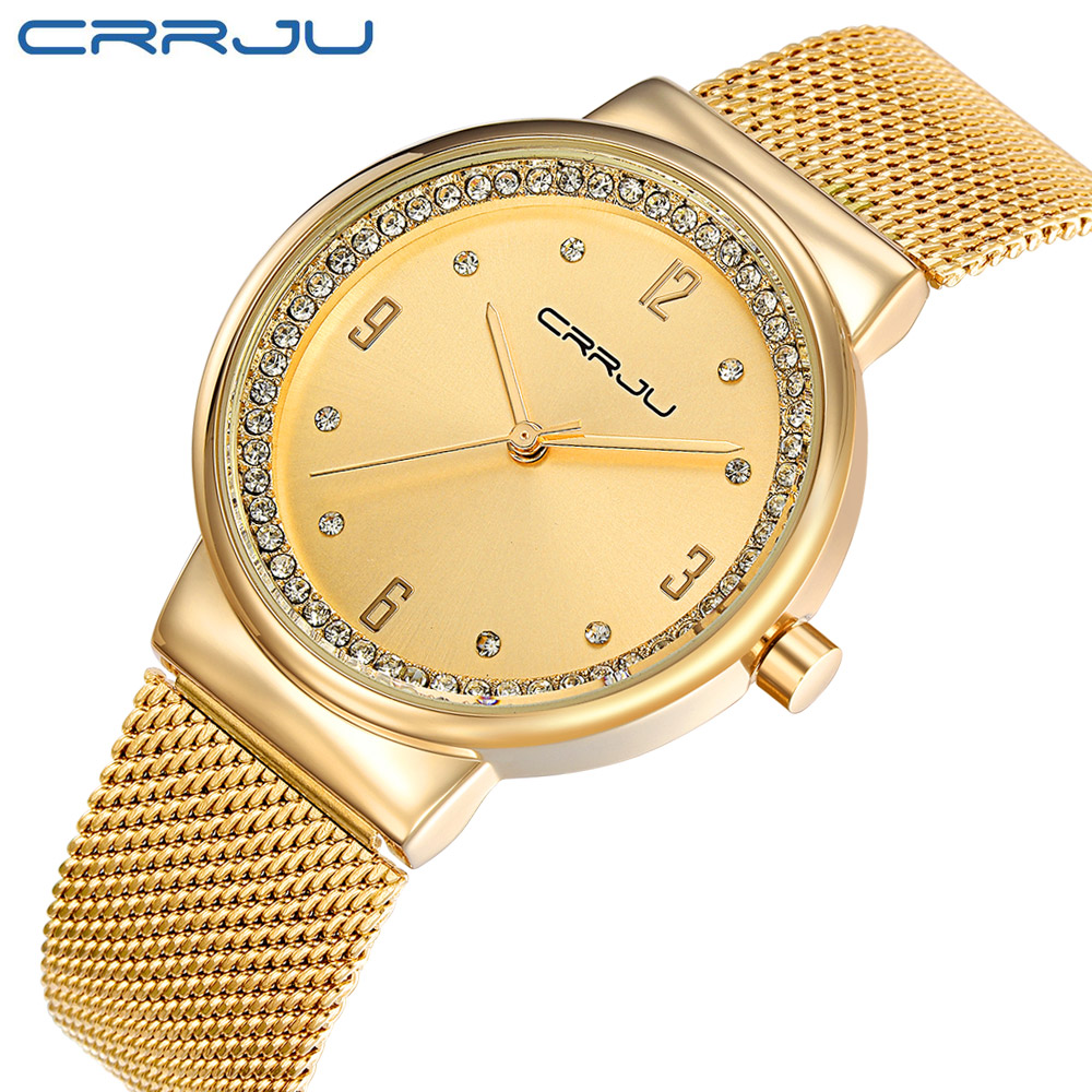 CRRJU Brand casual Ladies Women Dress Watches Quartz Watch Steel Mesh Band Luxury Gold Bracelet Wristwatch Relogio Feminino