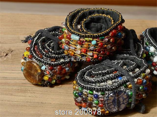 Hdc0631 Indian Hand Genaaid Kleurrijke Glazen Kralen Boho Geborduurde Tailleband, Lady Decor Riem Mode Leuke Riemen