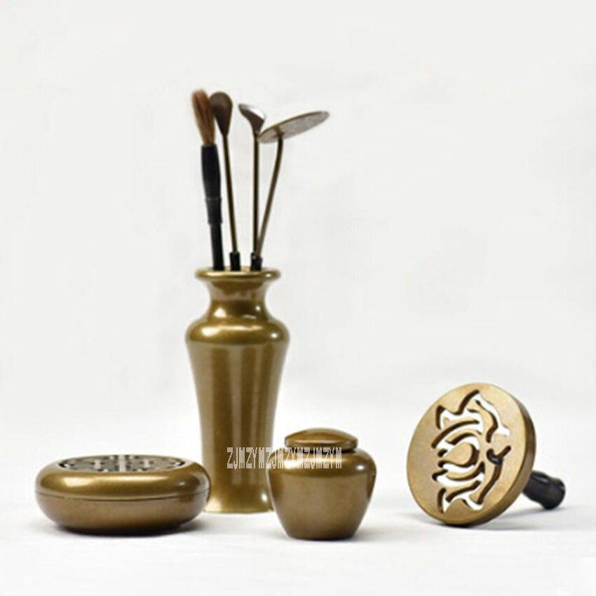 KH200136 nouveau brûleur d'encens de haute qualité Set outils d'encens en cuivre artisanat en métal Temple porte-encens décoration de la maison vente chaude