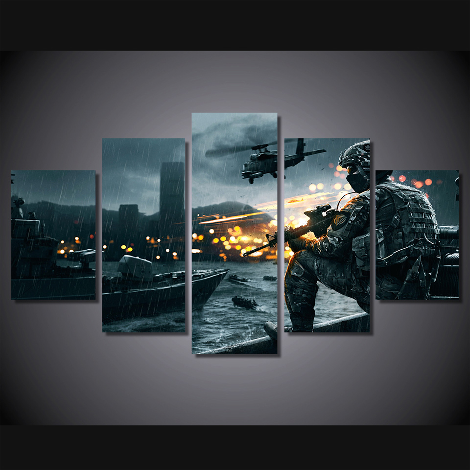 HD Printed battlefield scenario Painting 5 piece Canvas art Print room decor print poster picture canvas Free shipping/ny-4515