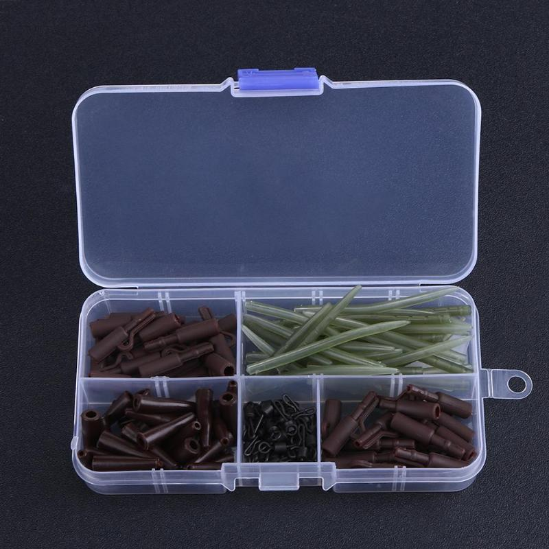 120pcs Carp Fishing Accessories Tackle Anti Tangle Sleeves Tail Rubbers Safety Lead Clips Quick Change Swivels Set with Box