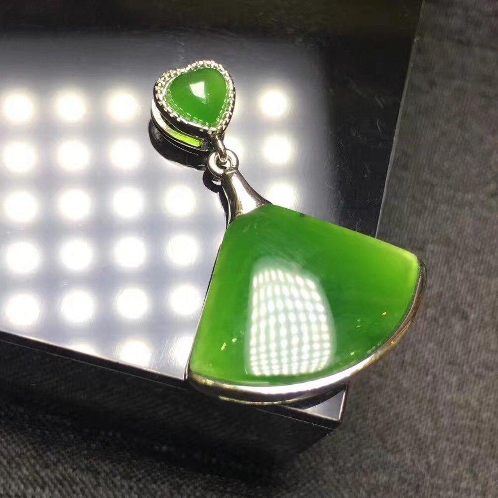 Natural Hetian yu fan-shaped green pendant S925 Silver Seiko Mosaic simple pendant men and women models/Natural Hetian yu fan-shaped green pendant S925 Silver Seiko Mosaic simple pendant men and women models/