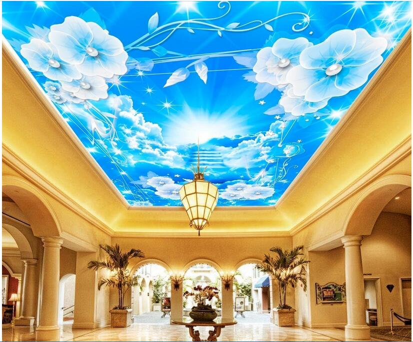 3d room ceiling murals wallpaper custom photo non-woven Flowers white clouds ladder decoration painting 3d wall murals wallpaper custom photo 3d ceiling murals wallpaper sky white clouds dove leaves decor 3d wall murals wallpaper for living room painting