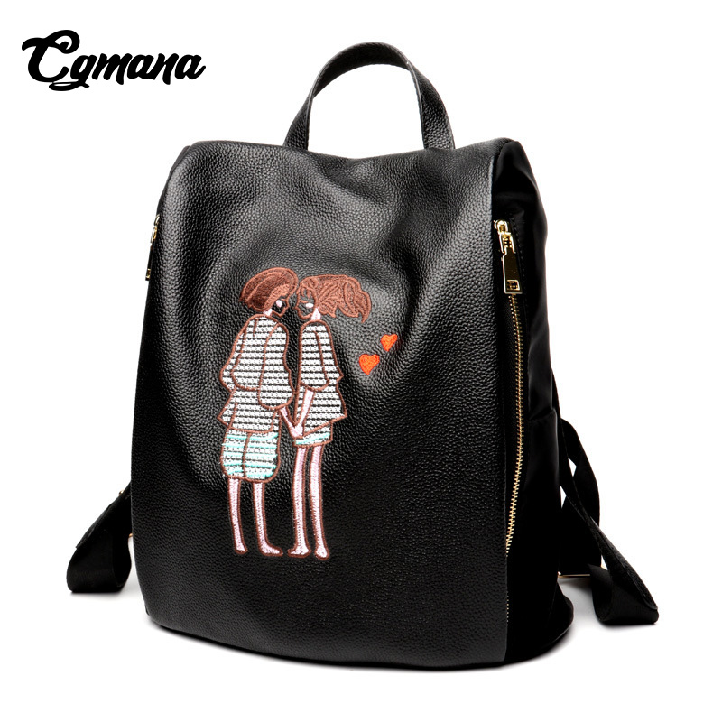 Women Backpack 2018 Genuine Leather With Oxford Female Shoulder Bag Black Sweet Teenager School Bag Girl Trendy Lady Travel Bag