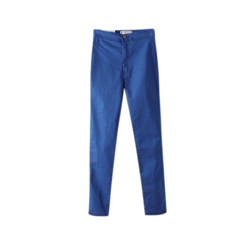 Newest Summer Women Hight Waist Pants Regular Button Jeans Lady Cotton Casual Solid Pencil Pants