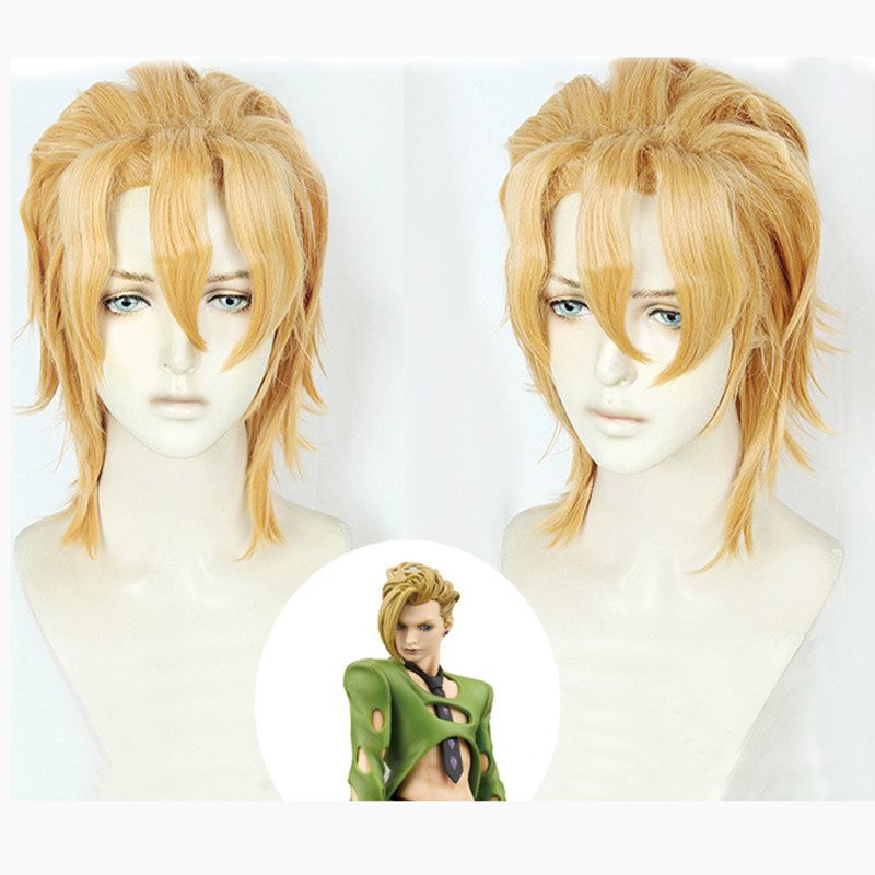 Anime JoJo's Bizarre Adventure Golden Wind Pannacotta Fugo Cosplay Short Blond Wig Halloween Cosplay Costume Wigs + Wig Cap-in Anime Costumes from Novelty & Special Use