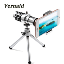 Cheaper 12x Optical Zoom Lens Telescope Telephoto Phone Camera Lens Clip on Universal For iPhone Android Mobile Cell Phones with tripod