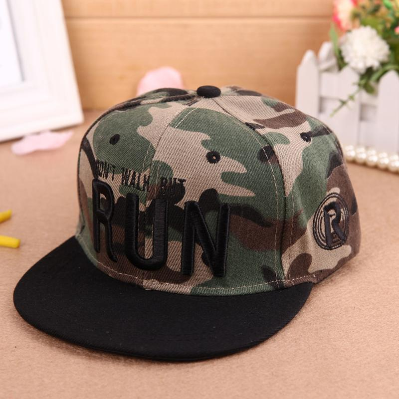 2018 Trend Letter Embroidery Sun Hats Unisex Kids Snapback Hats   Baseball     Cap   Camouflage Children Hip Hop   Cap   Adjustable Strap