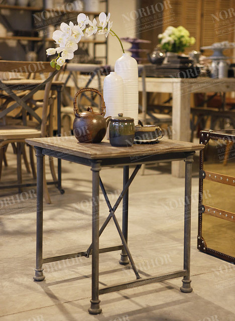 LOFT American Country Style Wood Furniture Retro Mining / Washed White  Wrought Iron Coffee Table Side