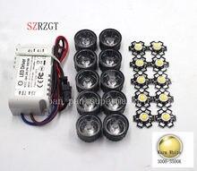 10X3 W whtie Quente 3000-3500 k High Power LED + 10 pcs lente + 1 pcs 6-10x3w motorista