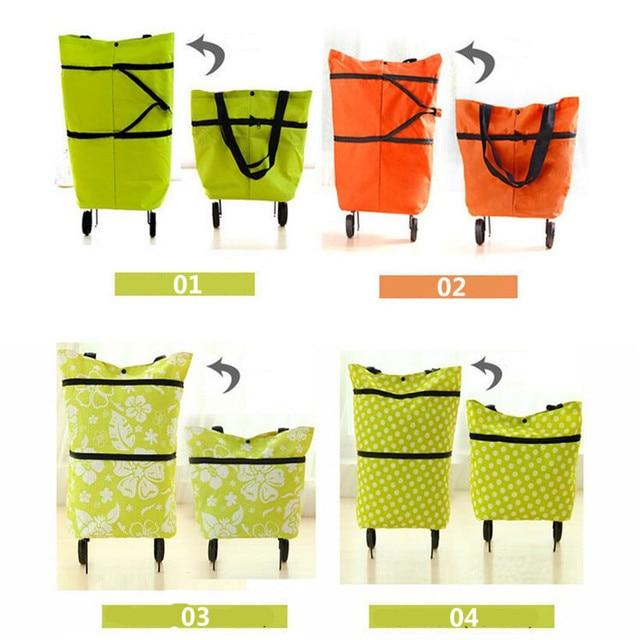 Oxford Doek foldable bag new reusable shopping bag trolley bags on wheels wheels Shopping Bag Cart eco