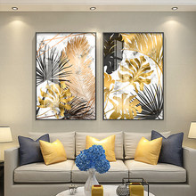 Modern Golden Maple Leaf Canvas Poster And Printed Picture Living Room Bedroom Home Nordic Wall Art Decoration Can Be Customized(China)