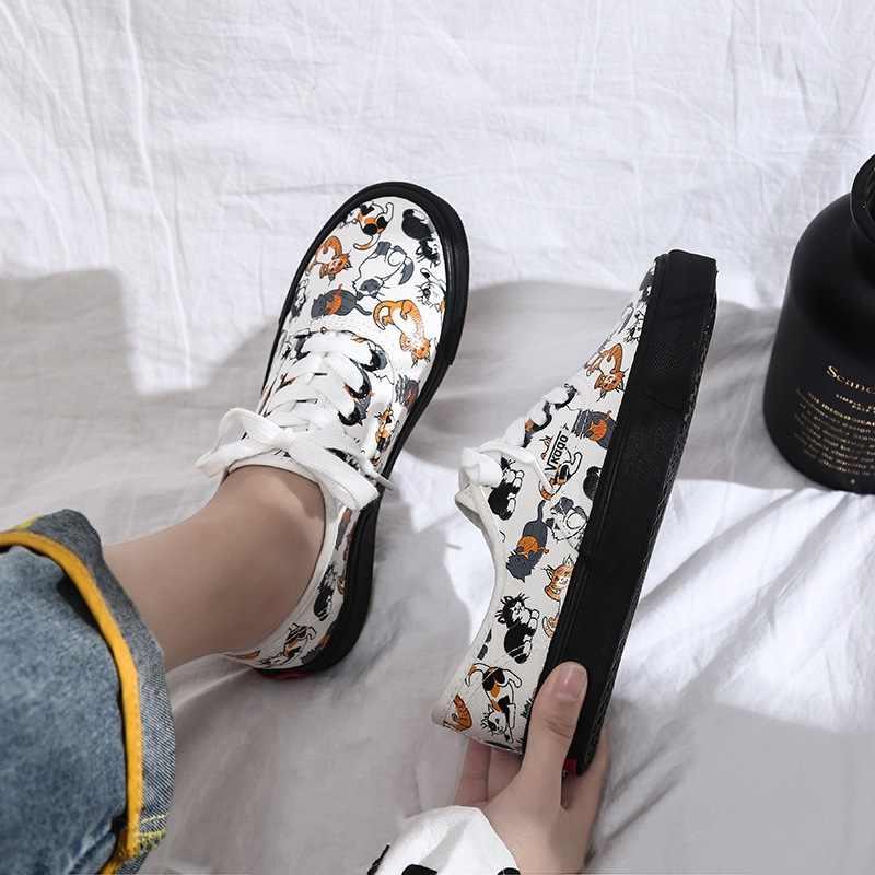 ใหม่ Ulzzang รองเท้าผ้าใบรองเท้าผู้หญิงรองเท้าผ้าใบรองเท้าสุภาพสตรีรองเท้า Trainers เดินสเก็ตบอร์ด Flats Tenis Chaussure Femmes